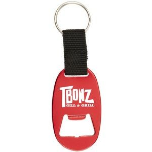 Oval Aluminum Bottle Opener w/ Key Ring