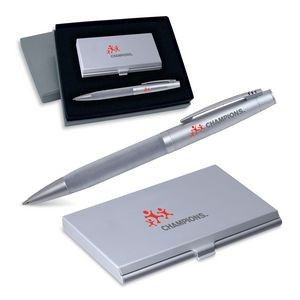 2-Piece Gift Set of Business Card Case with Mirror and Ballpoint Pen