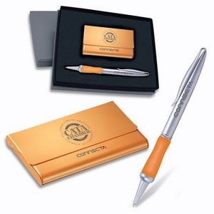 2-Piece Gift Set of Metallic Orange Business Card Case and Twist Action Ballpoint Pen