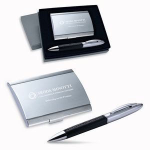 2-Piece Gift Set of Business Card Case and Ballpoint Pen