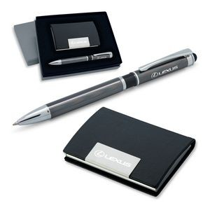 2-Piece Gift Set of Leather Card Case and 2-in-1 Stylus Ballpoint Pen