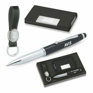 3-Piece Gift Set of Card Case, 3-in-1 Stylus Ballpoint Pen and Key Holder
