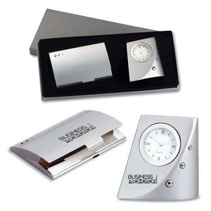 2-Piece Gift Set of Metal Desk Clock and Business Card Case