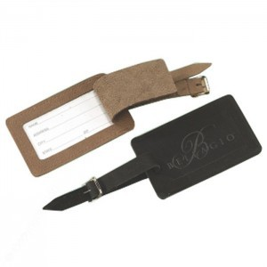 Top Grain Leather Luggage Tag w/ Buckle & Strap
