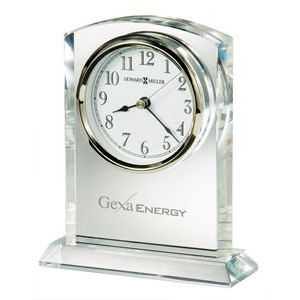 Howard Miller Flaire Arched Crystal Award Clock w/ Silver Bezel