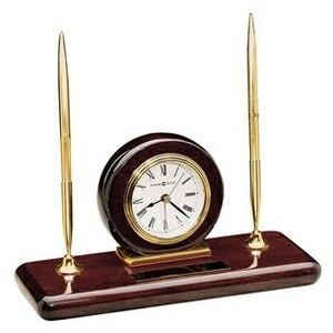 Howard Miller Rosewood Finish Clock Desk Set w/ 2 Brass Pens