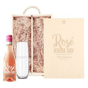 Rustic Laser Engraved Box w/Custom Etched Mini Rose Wine and Glass