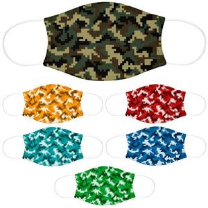 Youth Face Mask, Reusable 2 Ply With Pocket For Filter, Camo Dye-Sub Print