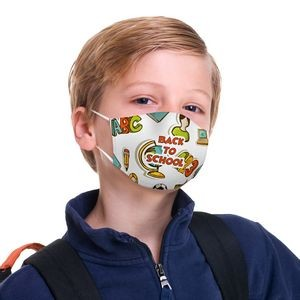 2 Ply Youth Face Mask With Pocket For Filter, Back To School Dye-Sub Print