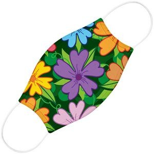 Fabric 2-Ply Youth Face Mask With Pocket For Filter, Flower Dye-Sub Print