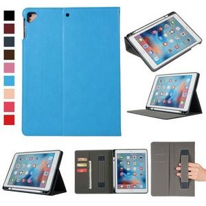"iBank(R) iPad 9.7"" Leatherette Case with Pencil Holder (Blue)"