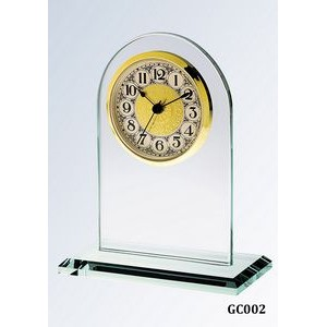 Jade Glass Arch Clock, Gold Face and Fancy Arabic Numerals