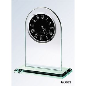 Jade Glass Arch Clock, Black Face and Roman Numerals
