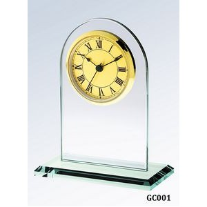 Jade Glass Arch Clock, Gold Face and Roman Numerals
