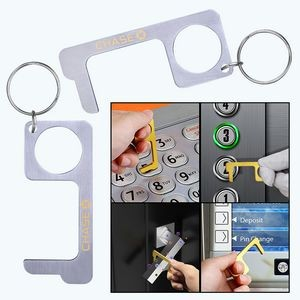 PPE Stainless Steel Door Opener Closer No-Touch w/ Key Chain
