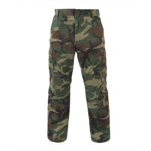 Woodland Camouflage Vintage Paratrooper Military Fatigue Pants (XS to XL)