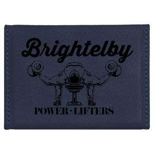 Laserable Blue Leatherette Business Card Holder