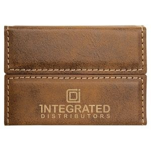 Laserable Rustic Leatherette Business Card Holder