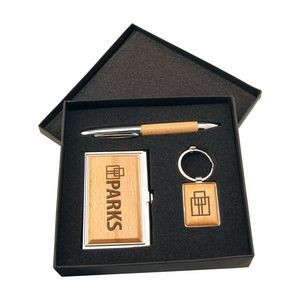Silver/Wood Finish Gift Set with Business Card Case, Pen & Keychain