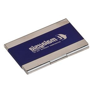 Blue Stainless Steel Business Card Holder