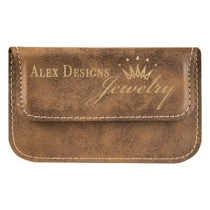 Rustic/Gold Leatherette Flexible Business Card Holder