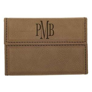 Laserable Dark Brown Leatherette Business Card Holder