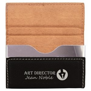 Laserable Black Leatherette Business Card Holder