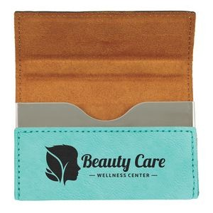 Laserable Teal Leatherette Business Card Holder