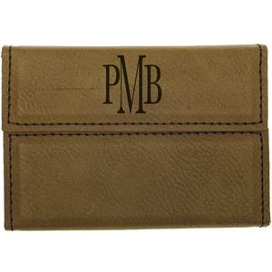 3 3/4 x 2 3/4 Dark Brown Leatherette Hard Business Card Holder