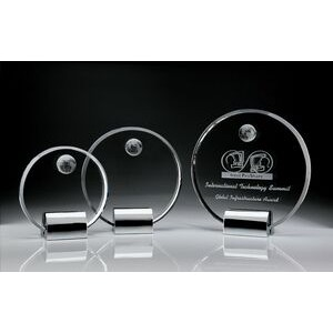 Clear Circle Plaque w/Globe Award- Small