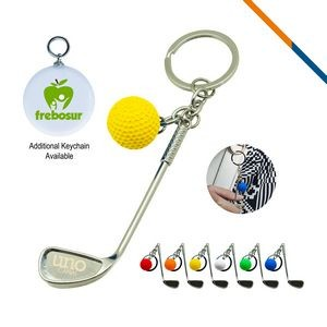 Golf Clubs Keychain Yellow