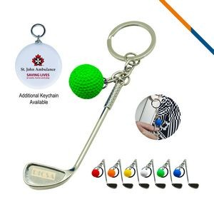Golf Clubs Keychain Green