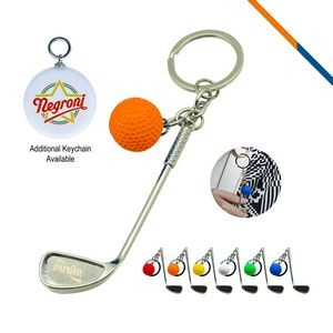 Golf Clubs Keychain Orange