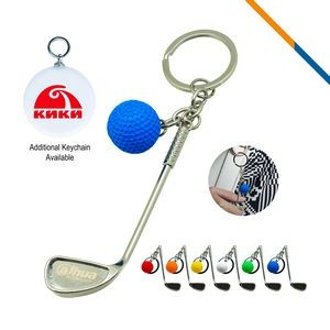 Golf Clubs Keychain Blue