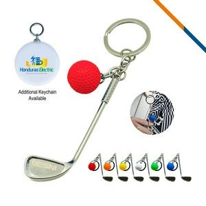 Golf Clubs Keychain Red